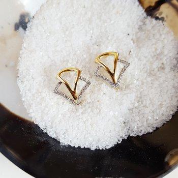 Diamond Geometric Earrings in 14K Yellow Gold (1/8 ct. tw.)