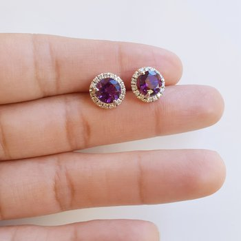 Amethyst Diamond Halo Studs