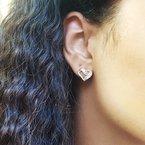 Gems One Diamond Open Ribbon Heart Stud Earrings in Sterling Silver