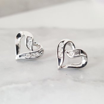 Diamond Open Ribbon Heart Stud Earrings in Sterling Silver