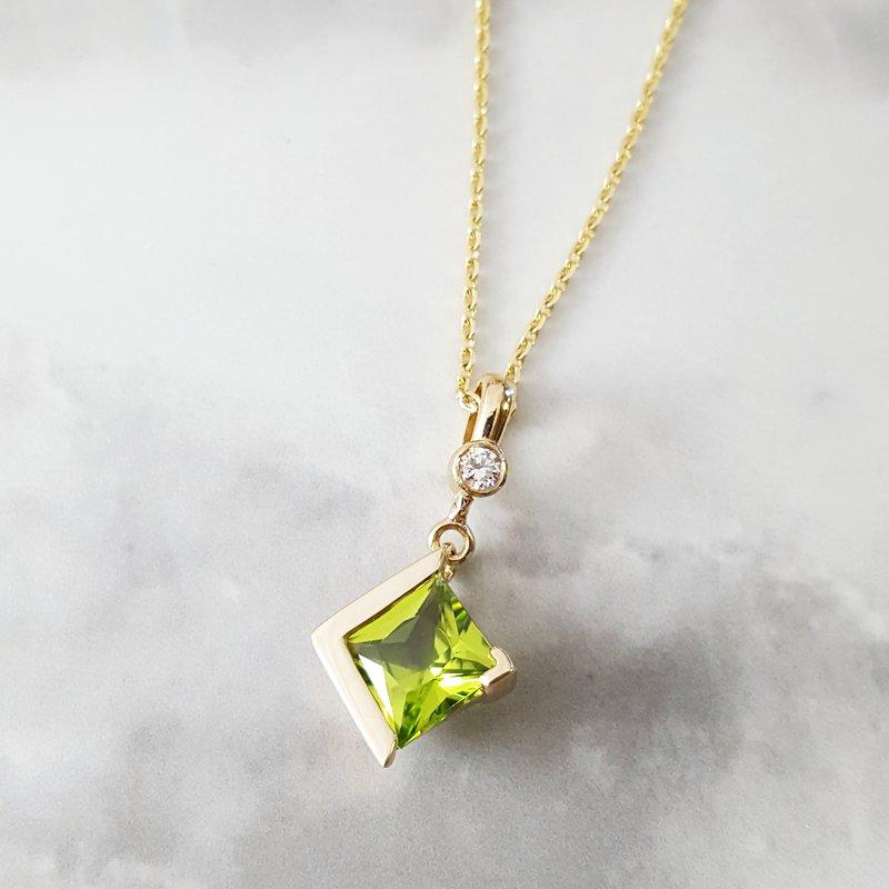 Arizona Peridot Gold Jewelry Princess Drop Pendant