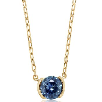 Montana Sapphire Half Bezel Necklace