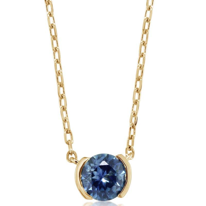 American Gem Collection™ Montana Sapphire Half Bezel Necklace
