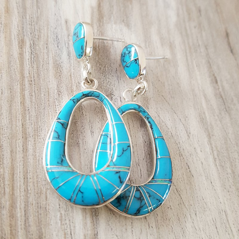 Arizona Turquoise and Inlaid Jewelry Oblong Oval Drop Stud Earrings