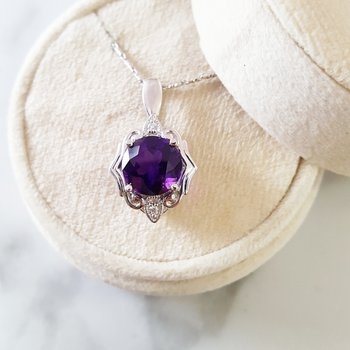 White Gold Arizona Amethyst Fashion Pendant