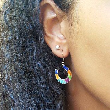 Multicolored Horseshoe Dangle Earrings