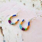 Arizona Turquoise and Inlaid Jewelry Multicolored Horseshoe Dangle Earrings