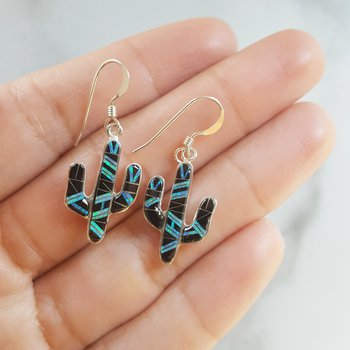 Onyx and Opal Saguaro Cactus Dangle Earrings