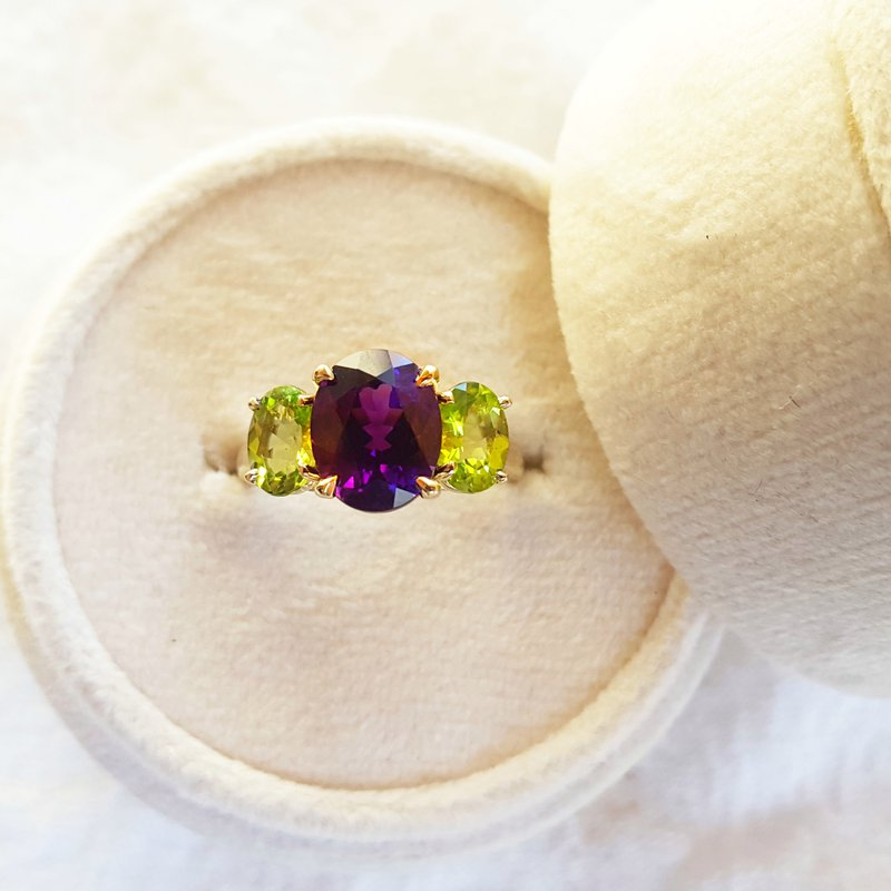 Arizona Explorer Collection Three Stone Amethyst and Peridot Ring