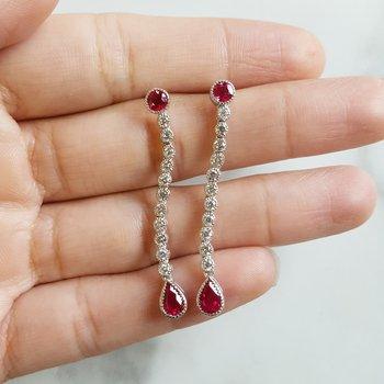 Raindrop Ruby Earrings