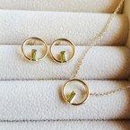 Arizona Peridot Gold Jewelry Negative Space Necklace