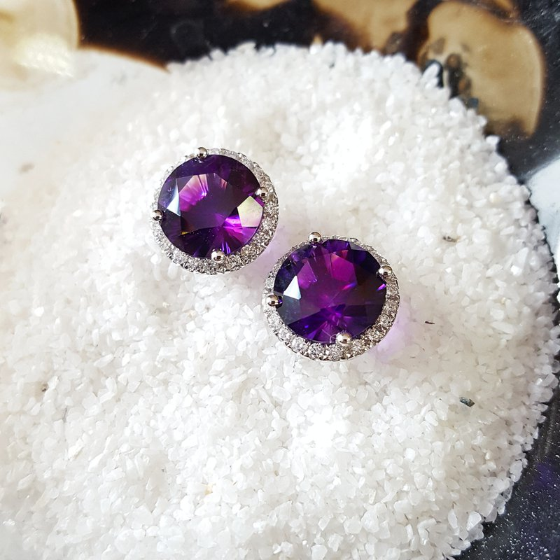 Arizona Amethyst™ Gold Jewelry Round Amethyst Halo Studs