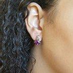 Arizona Amethyst™ Gold Jewelry Princess Cut Amethyst Studs