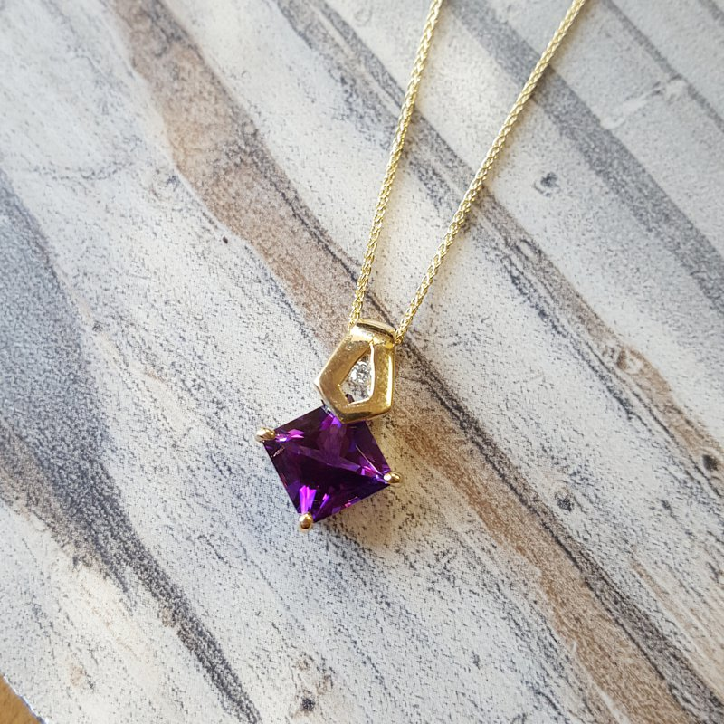 Arizona Amethyst™ Gold Jewelry Princess Cut Amethyst Pendant