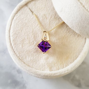 Princess Cut Amethyst Pendant
