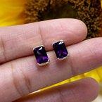 Arizona Amethyst™ Gold Jewelry Radiant Half Bezel Stud