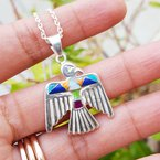 Arizona Turquoise and Inlaid Jewelry Multicolored Eagle Pendant