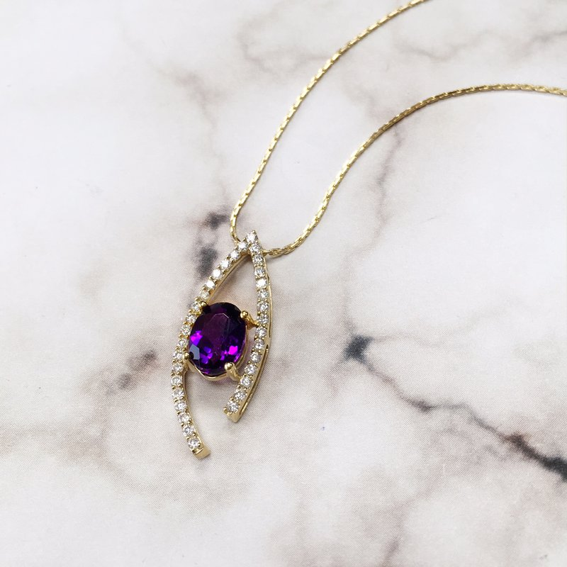 Arizona Amethyst™ Gold Jewelry Amethyst Wishbone Pendant