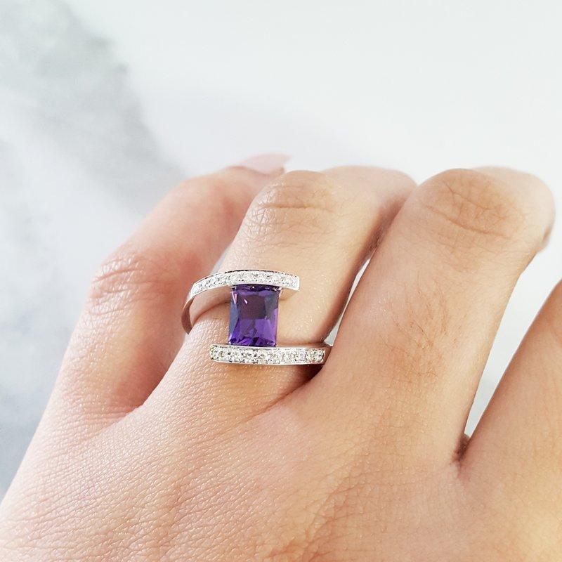 Arizona Amethyst™ Gold Jewelry Radiant Bypass Ring