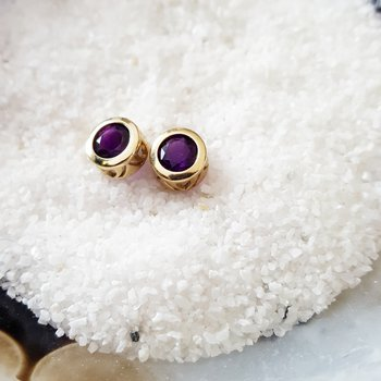 Amethyst Bezel-Set Earrings