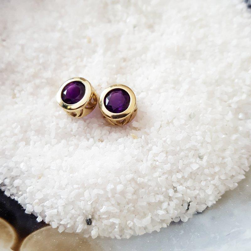 Arizona Amethyst™ Gold Jewelry Amethyst Bezel-Set Earrings