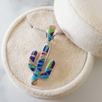 Arizona Turquoise and Inlaid Jewelry Colorful Saguaro Cactus Pendant