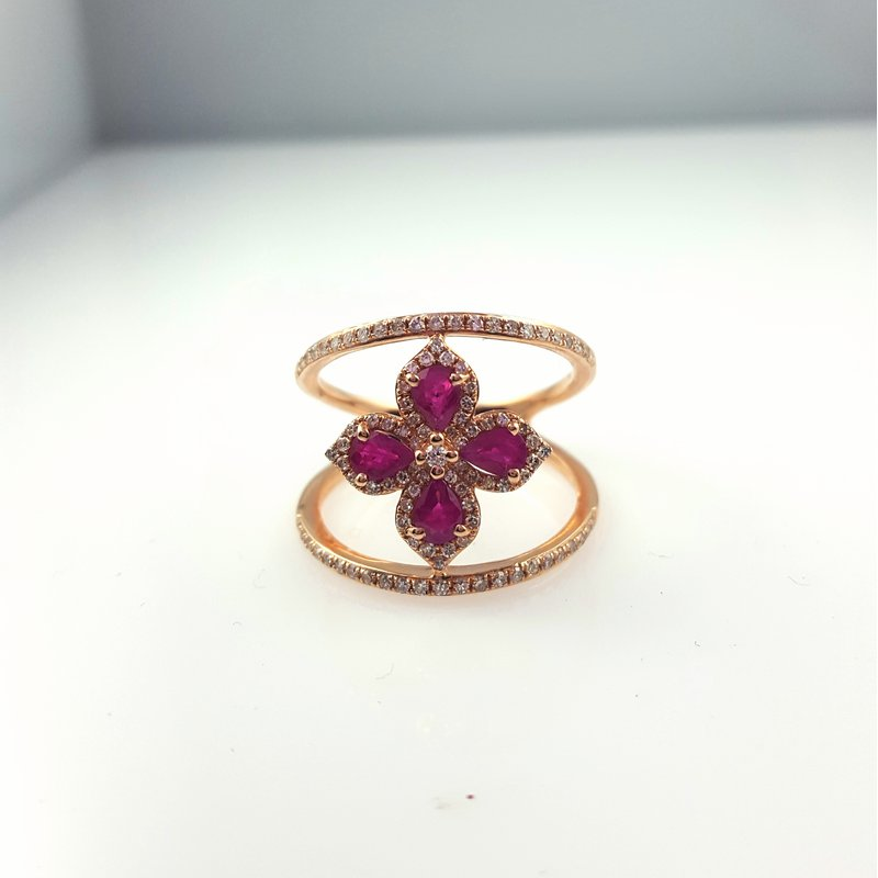 Asher Jewelry Co Ruby and Diamond Split Shank Ring