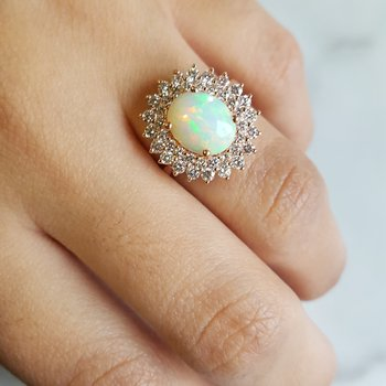 Opal Double Halo Cocktail Ring