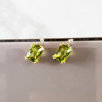 Peridot Dangle Studs