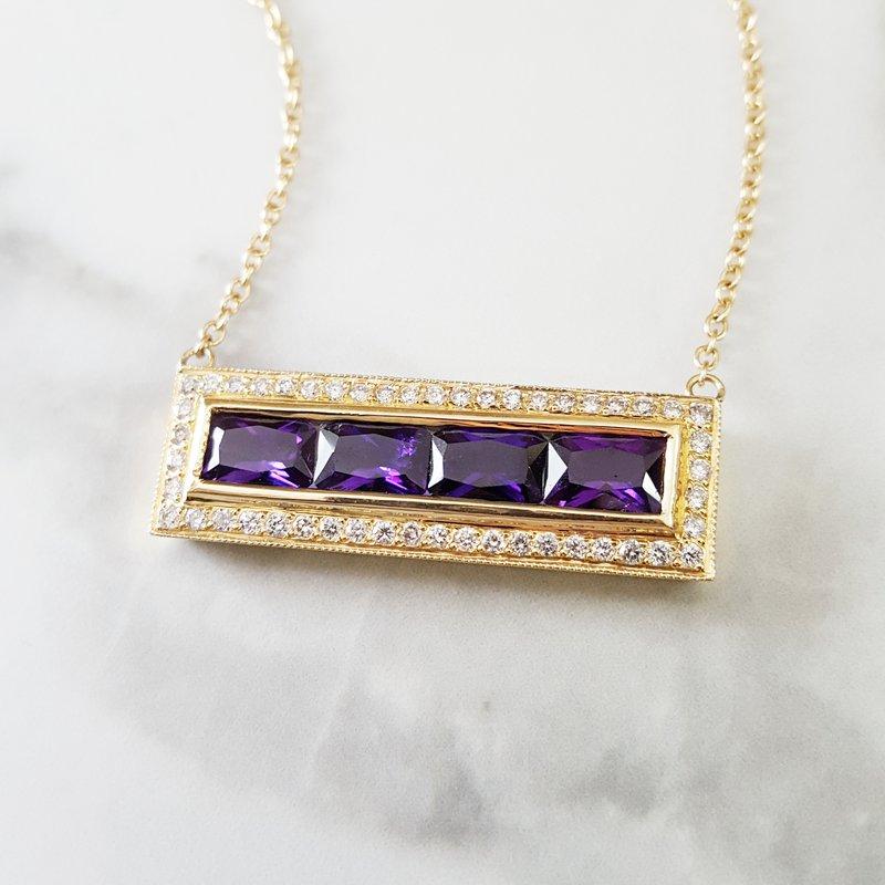 Arizona Amethyst™ Gold Jewelry Radiant Bar Pendant
