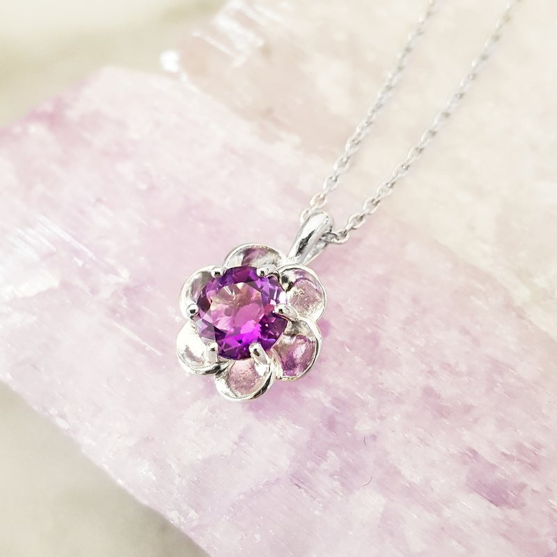 Arizona Amethyst™ Silver Jewelry Flower Pendant