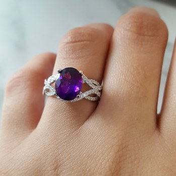 Amethyst Braided Band Ring