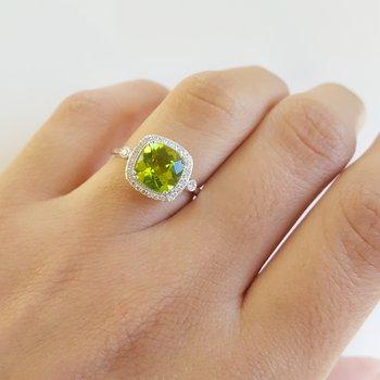 Peridot Cushion Cut Vintage Inspired Ring