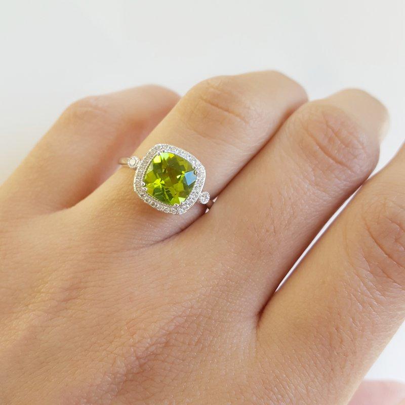 Arizona Peridot Gold Jewelry Peridot Cushion Cut Vintage Inspired Ring