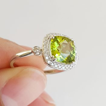 Peridot Cushion Cut Vintage Inspired Ring