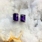 Arizona Amethyst™ Gold Jewelry  Radiant Half Bezel Studs