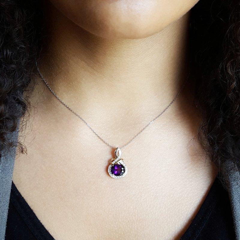 Arizona Amethyst™ Gold Jewelry Infinity Oval Necklace