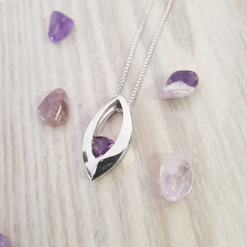 Marquise Shaped Trillion Amethyst Pendant