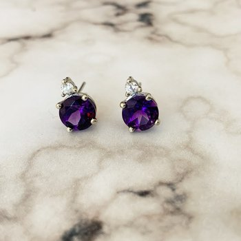 Amethyst and Diamond Stud