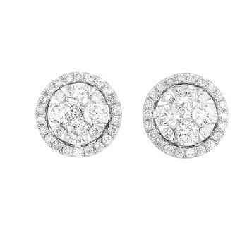 Diamond Round Halo Cluster Stud Earrings