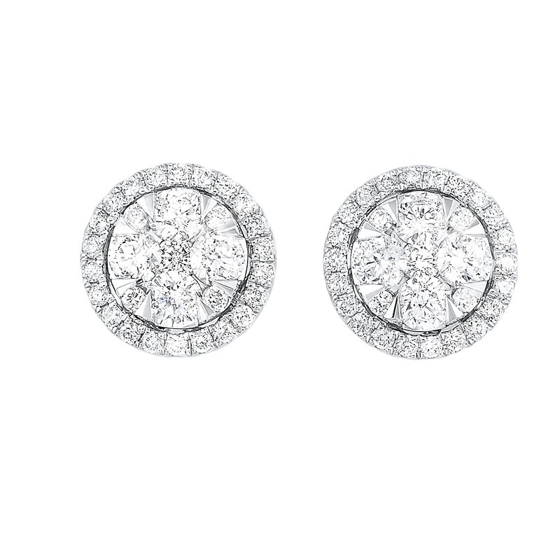 Gems One Diamond Round Halo Cluster Stud Earrings