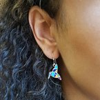 Arizona Turquoise and Inlaid Jewelry Hummingbird Dangle Earrings