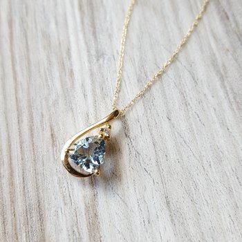 Aquamarine Trillion Necklace
