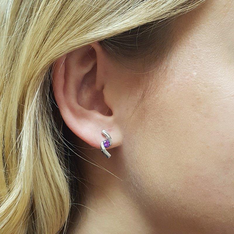 Arizona Amethyst™ Silver Jewelry Bypass Studs
