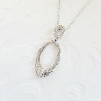 Diamond Double Teardrop Pendant Necklace in Sterling Silver