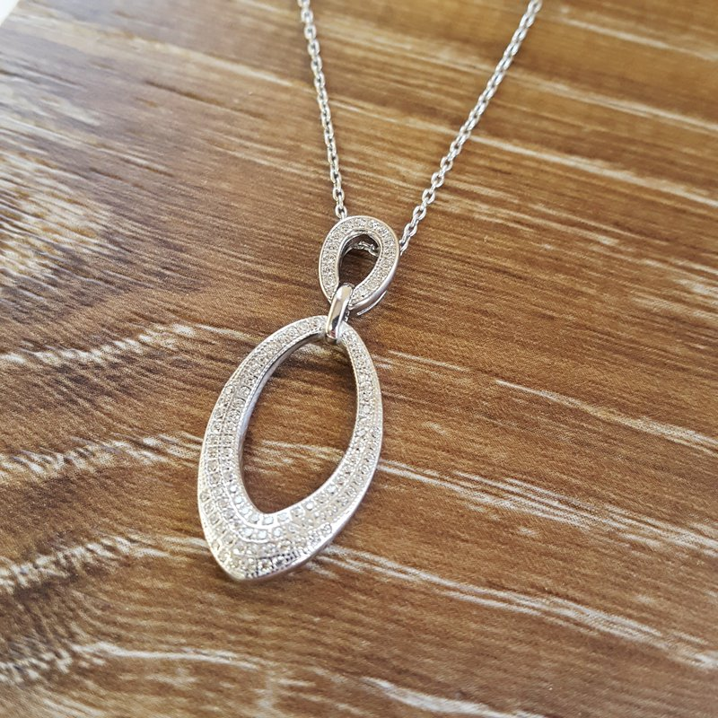 Gems One Diamond Double Teardrop Pendant Necklace in Sterling Silver