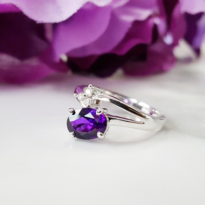 Arizona Amethyst™ Gold Jewelry Off-set Open Shank Ring