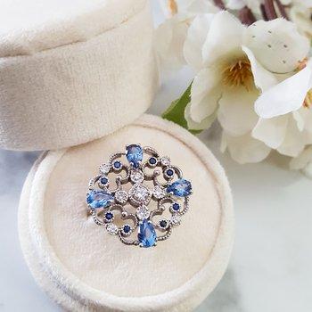 Ornate Blue Filigree Ring