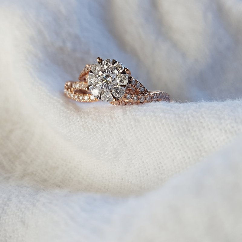 Diamond Pavé Interwoven Wedding Set