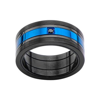 Matte Black & Blue Plated w/ Black CZ Ring